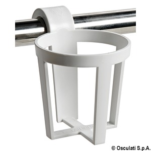 Plastic universal glass holder for snap-in mounting on pulpits and handrails title=