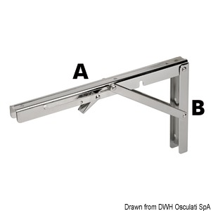 Folding arm for tables title=