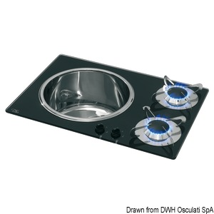 Integrated crystal glass/stainless steel hob unit