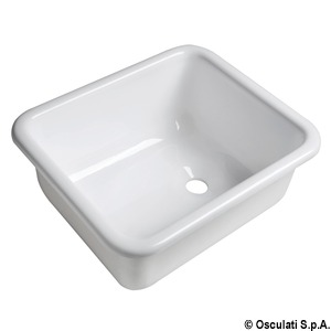 Rectangular sink made of white polished plexiglas title=