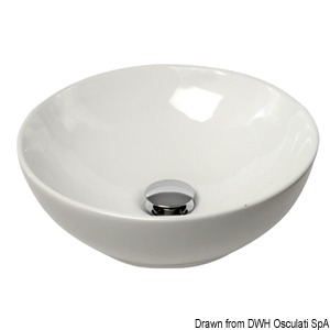Hemispheric ceramic sink, for surface mounting title=