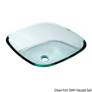 Square sink with rounded edges, clear glass title=