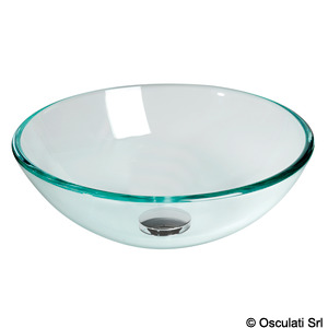 Transparent glass hemispherical sink title=