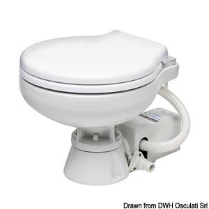 Electric toilet w/white plastic seat