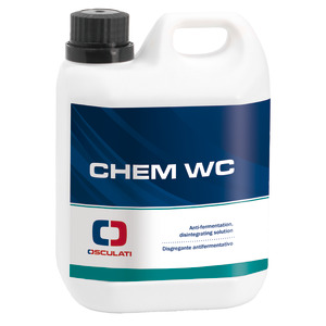 Chem WC - Disintegrating and anti-fermentative product for chemical toilet units and waste water tanks title=