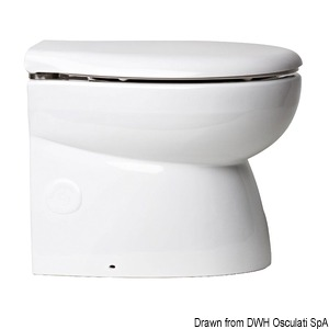 Faired electric toilet unit with white porcelain bowl
