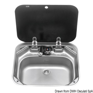 SMEV stainless steel sink with smoke tempered glass lid title=