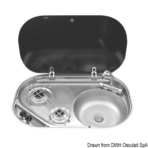 SMEV/DOMETIC hob unit with tinted glass lid title=
