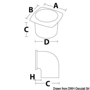 Osculati ABS-Lüftungsgitter mit Ring weiß 92 x 92 mm