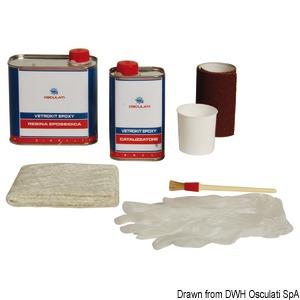 Epoxy resin kit for fiberglass repairs title=