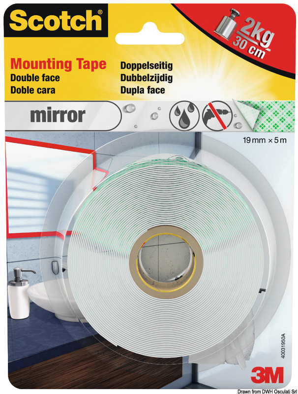 3m Double Sided Tape 19mm X 5m, Can I Use Double Sided Tape To Hang A Mirror