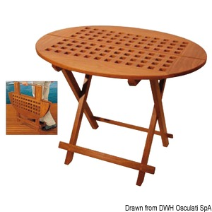 ARC oval tip-top table made of real teak title=