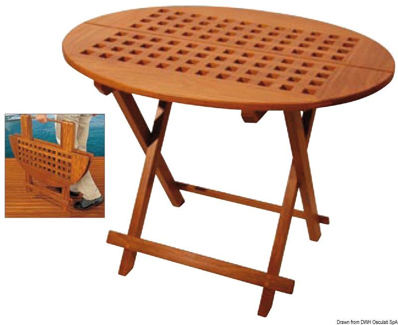 Table pliante ovale en teck v ritable arc - Table pliante en teck ...