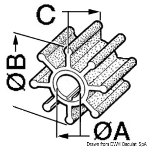 Impellers for outboard engines Mercury/Mariner title=