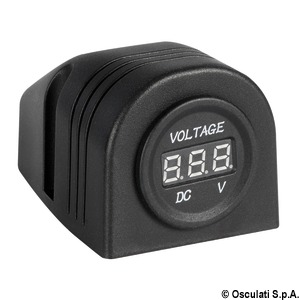 Digital voltmeter and power outlet for flat mounting title=