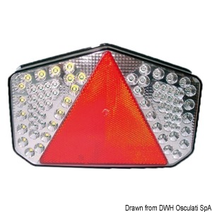 Rear LED light with triangular reflector title=