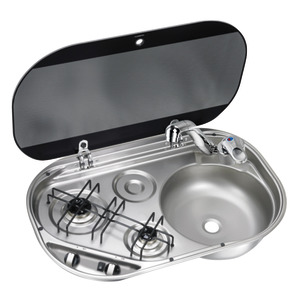 2-burner hob w/tinted glass cover