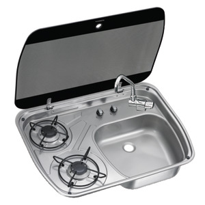 SMEV/DOMETIC stainless steel hob with smoke tempered glass lid title=