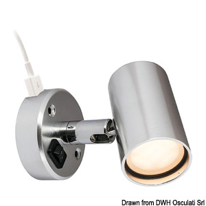 BATSYSTEM Tube LED spotlight with USB outlet (13.867.05 excluded) title=