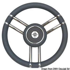 Apollo steering wheel SS+polyurethane Ø 350mm grey