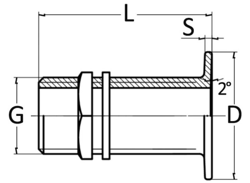 "Osculati Flush threaded seacock yellow brass 3//4/"""